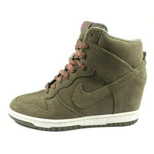 Nike Dunk Sky Hi Green Suede Hidden Wedge Sneakers
